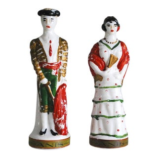 Vintage Milk Glass Liquor Bottles, Matador and Spanish Lady - A Pair For Sale