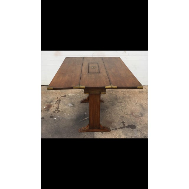Vintage Campaign Style Drop Leaf Dining Table - Image 2 of 6