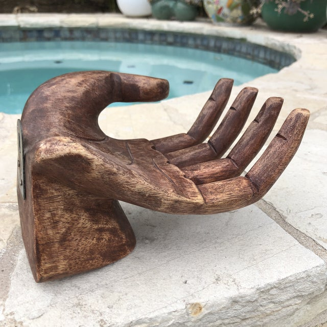 Jonathan Adler Primitive Bohemian Carved Wooden Human Hand Sculptural Shelf For Sale - Image 4 of 10