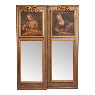 Louis XVI Style Mirrors With Portraits - a Pair For Sale