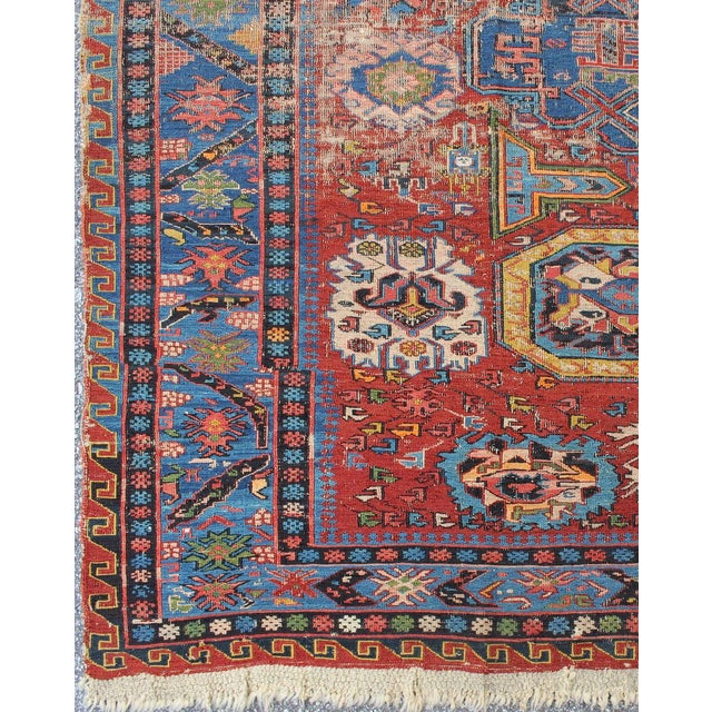 This magnificent antique Caucasian Sumac rug from the late 19th century Caucuses features an all-over pattern that lends...