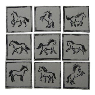 Minimalist Horse Paintings Set of 9 by Cleo Plowden For Sale