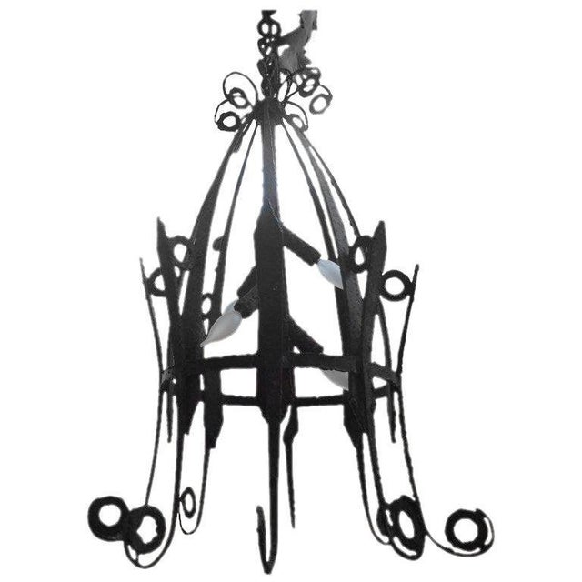 1920's Antique French Wrought Iron Lantern For Sale - Image 9 of 10