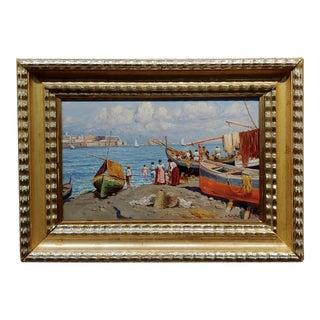 Attilio Pratella 1920s Study of the Fisherman Marina in Napoli -Oil Painting For Sale