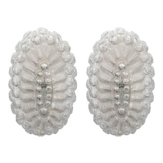 Mid-Century Oval Sconces in Textured Glass with Frosted Detail - a Pair For Sale