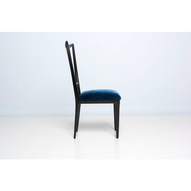 Blue Mahogany Table & Blue Velvet Dining Chair Set For Sale - Image 8 of 9