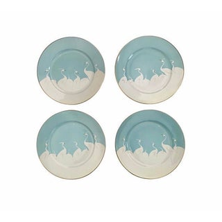 Mid-Century Hand Painted Dessert Plates - Set of 4 For Sale