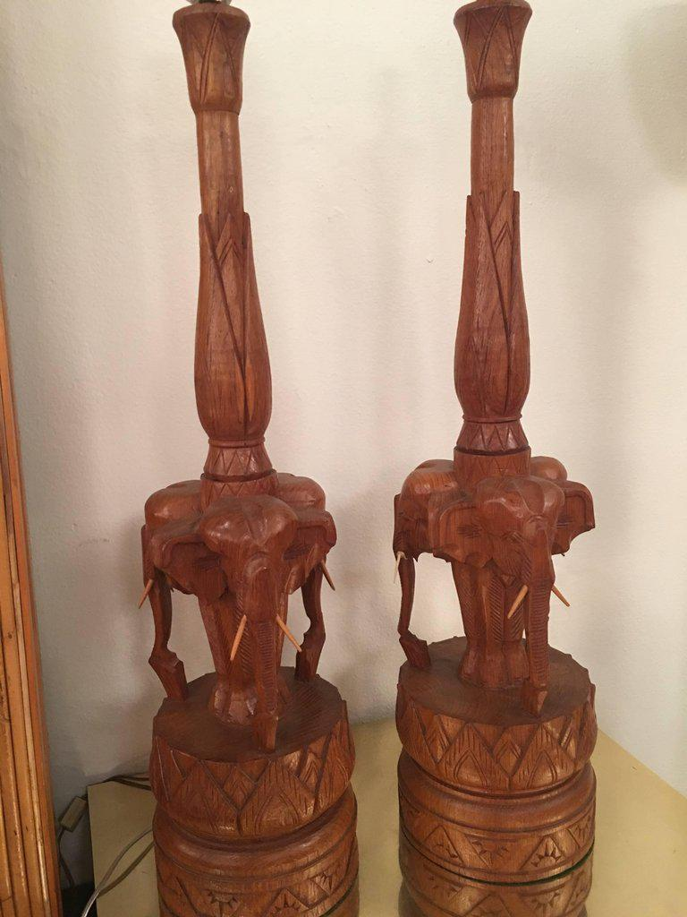 Vintage Hand Carved Wooden Elephant Table Lamps   A Pair   Image 3 Of 11
