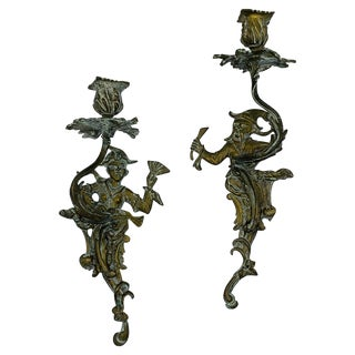 1950s Chinoiserie Sculptural Bronze Candlestick Wall Sconces, Pair For Sale