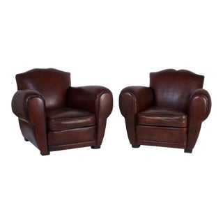 Art Deco Brown Leather Club Chairs - A Pair For Sale