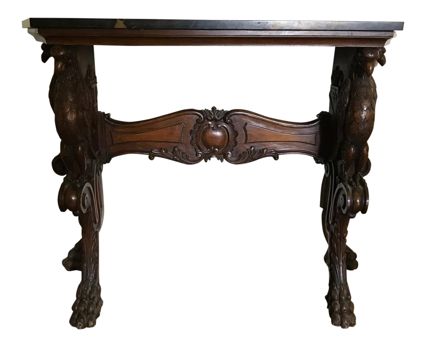 Superb Antique Carved Eagles Marble Top Console Table