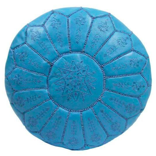 Embroidered Leather Pouf in Sky Blue Star Stitch For Sale
