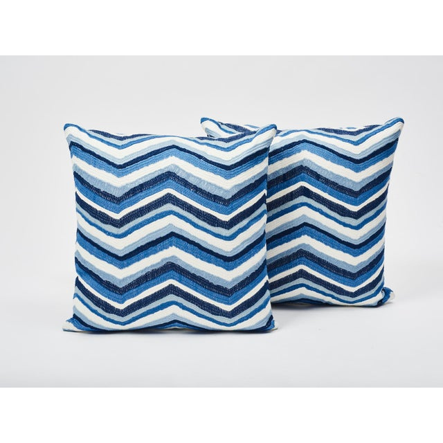 Schumacher Schumacher Double-Sided Pillow in Shasta Embroidery Textured Print For Sale - Image 4 of 7
