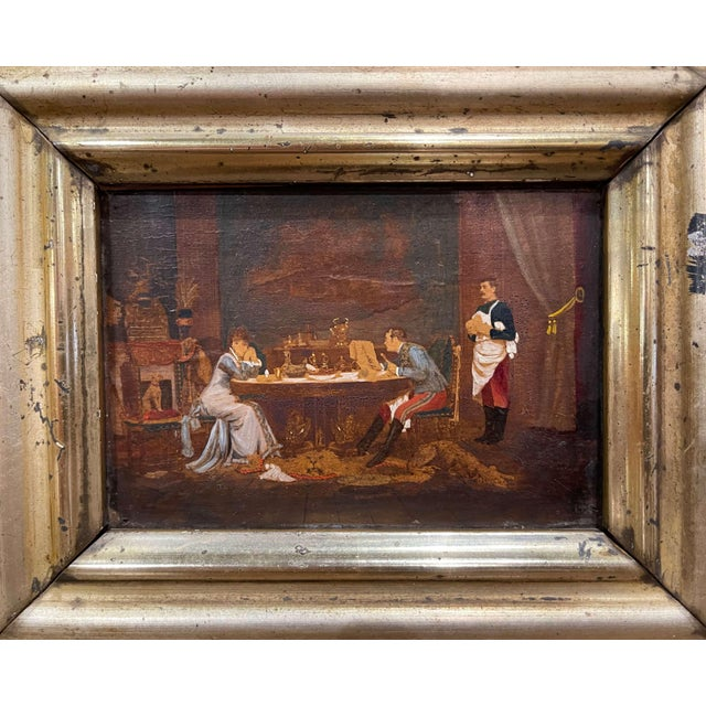 Late 19th Century 19th Century French Oil on Board Paintings in Carved Gilt Frames - a Pair For Sale - Image 5 of 9