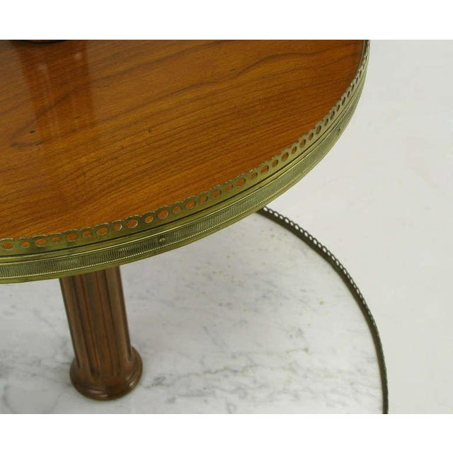 French Walnut & Carrera Marble Round Four-Tier Serving Table For Sale - Image 9 of 9