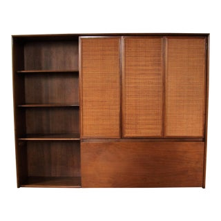 Mid-Century Modern Drexel Walnut Wicker Hutch Bar Wall Unit For Sale