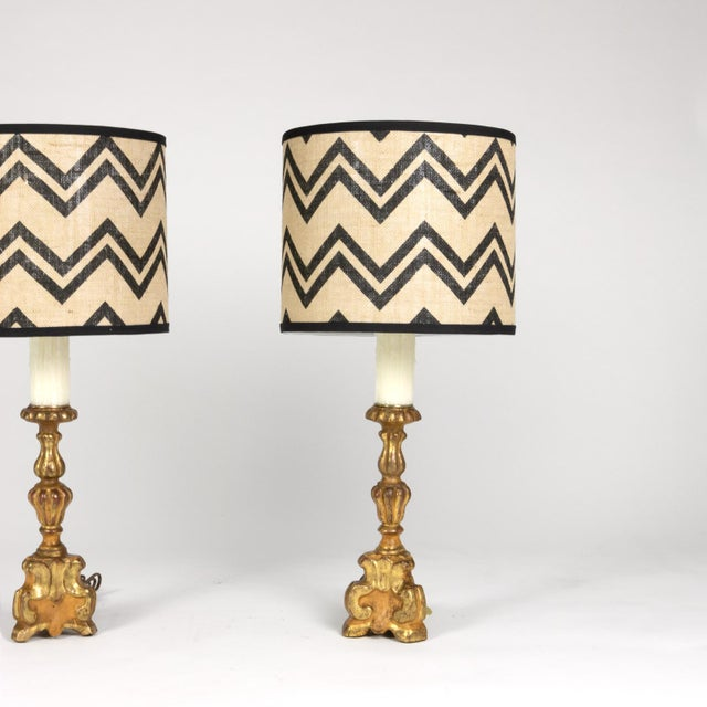 French Pair of Small Scale Carved Giltwood Pricket Sticks, French Circa 1780 Mounted and Wired as Table Lamps With Custom Shades. For Sale - Image 3 of 13