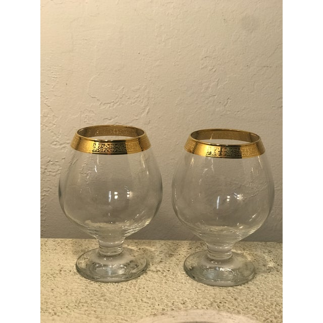 Art Deco 1920s Art Deco Dorothy Thorpe 18k Gold Banded Wine Glasses - a Pair For Sale - Image 3 of 7