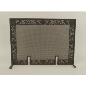 American Arts and Crafts wrought iron and bronze fire place andirons and screen For Sale - Image 9 of 11