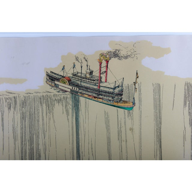 "Turquoise 1960's Lithograph ""Riverboat"" (1967) by William Richard Crutchfield For Sale - Image 8 of 10"