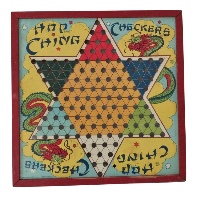 Antique 1940s Chinese Checker Game Board - Image 1 of 5