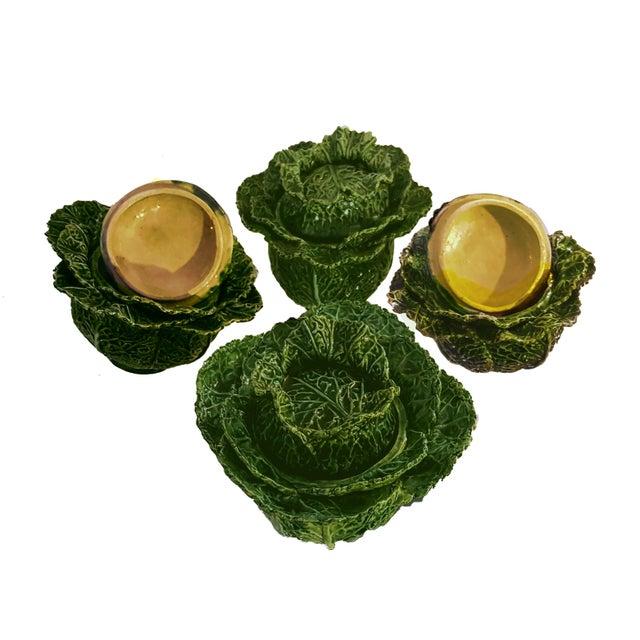 1930s Vintage Portuguese Majolica Cabbage Shaped Leaf Soup Bowls - Set of 4 For Sale - Image 9 of 10
