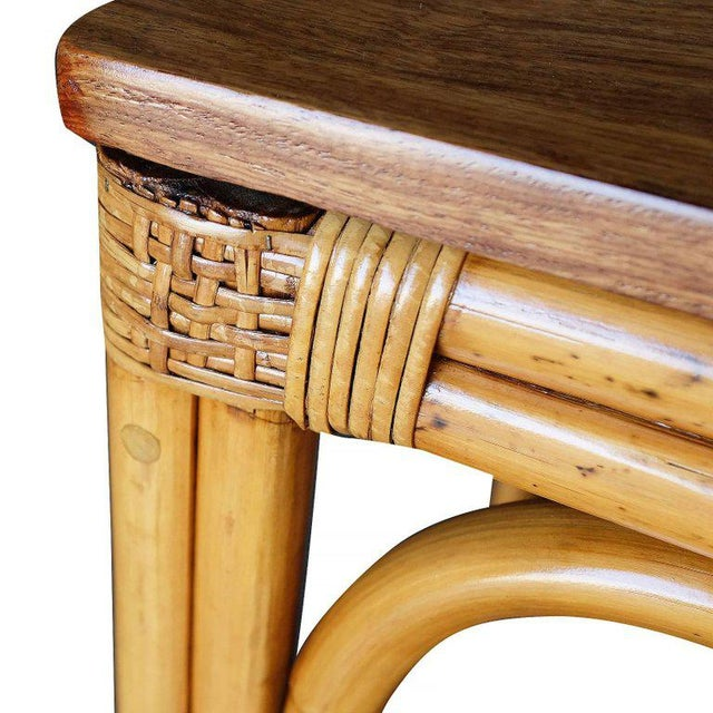 Restored Mid-Century Four Person Rattan and Mahogany Dining Table - Image 6 of 6