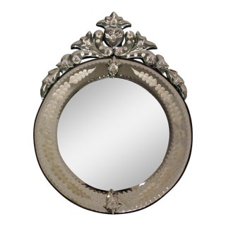 Vintage Italian style Venetian Round Wall Mirror Etched Hearts