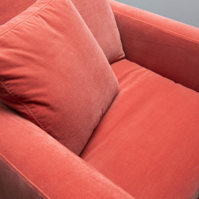 2010s Large Tuxedo Arm Swivel Club Chair in Salmon Ultra Suede For Sale - Image 5 of 9