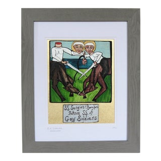 Patron Saints of Gay Soldiers. New Orleans Street Artist. 1992. Framed. For Sale