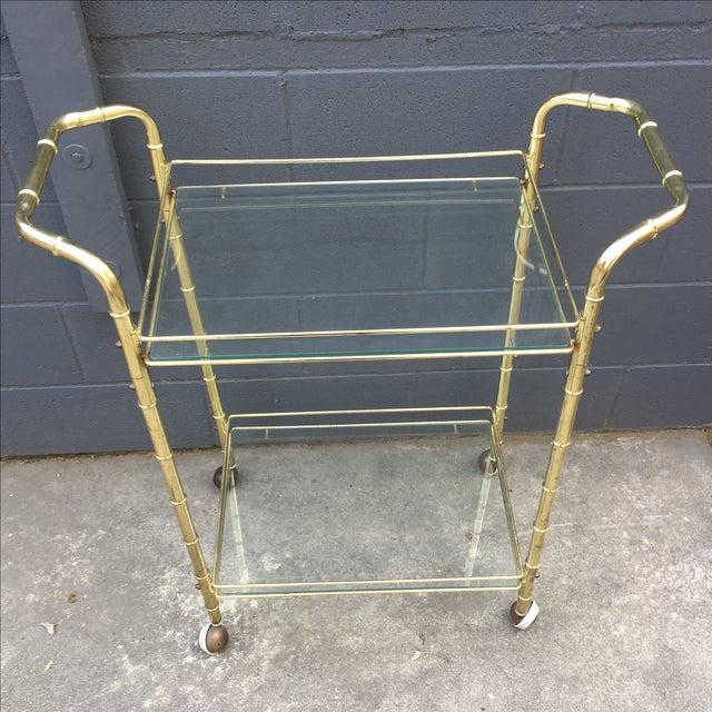 Brass Bar Cart with Bamboo Motif - Image 3 of 5