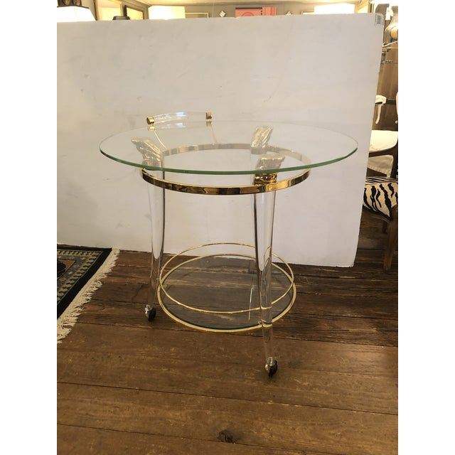 French Lucite and Gold Plated Round Bar Cart For Sale - Image 12 of 12