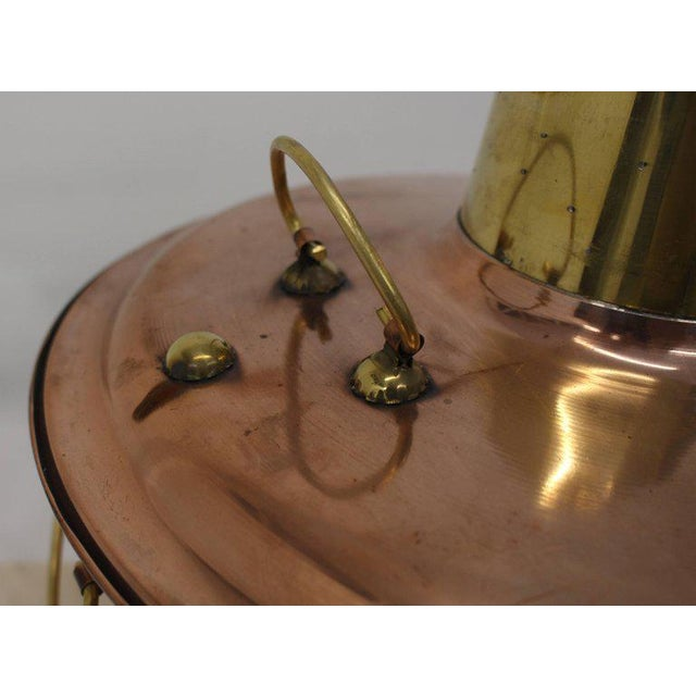 Copper and Brass Coal Burning Food Warmer Removable Chimney Samovar For Sale - Image 6 of 9