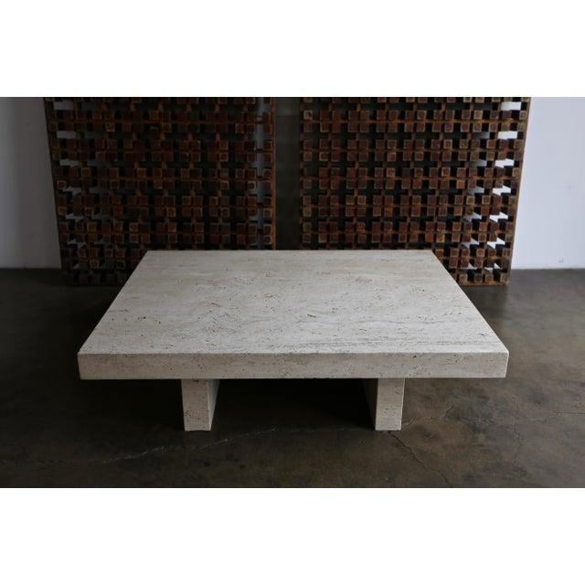 Angelo Mangiarotti Travertine Coffee Table, Circa 1980 For Sale - Image 4 of 13