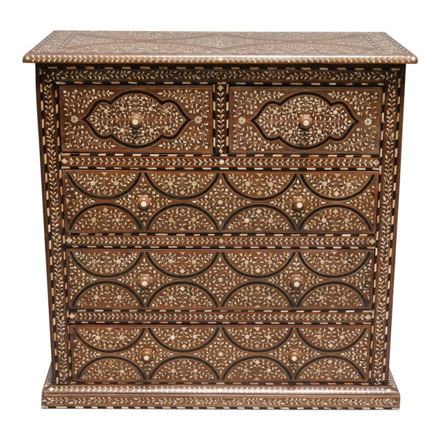 Teak Wood and Bone Inlay Chest of Drawers For Sale