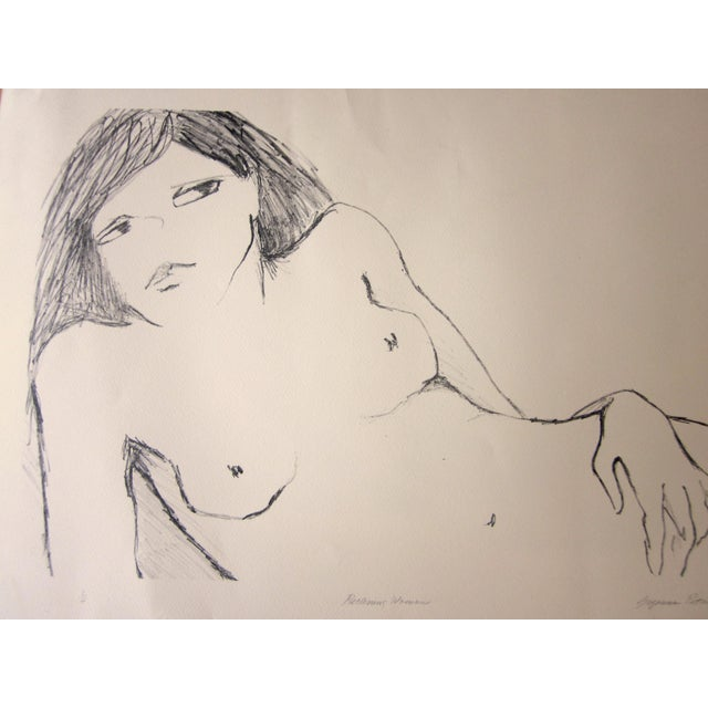 "1970s Vintage Suzanne Peters ""Reclining Woman"" Signed Nude Woman Figural Study Boho Chic Stone Lithograph For Sale In Chicago - Image 6 of 13"
