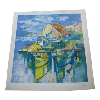 Jose Palmeiro Harbor Scene Lithograph For Sale
