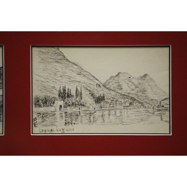 Red Postcard Drawings From Italy For Sale - Image 8 of 10