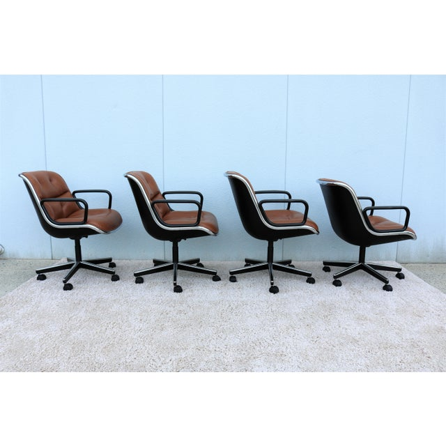 Brown Brown Leather Knoll Pollock Executive Chair For Sale - Image 8 of 13