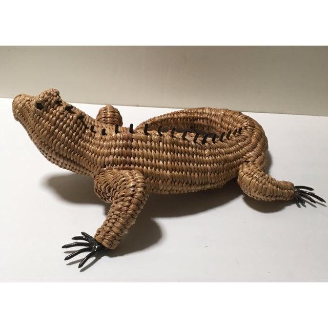 Tan Vintage Mario Lopez Torres Woven Iguana Figurine For Sale - Image 8 of 10