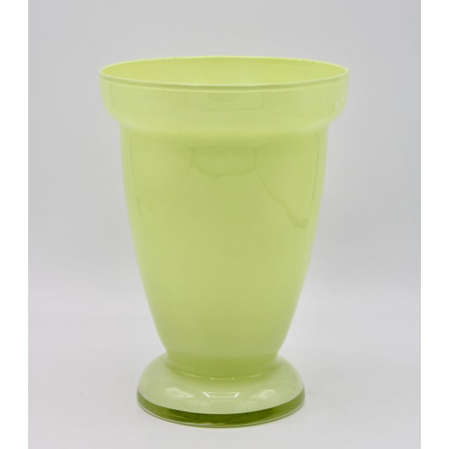 Mid 20th Century Mid Century Modern Celery Green Glass Vase For Sale - Image 5 of 8