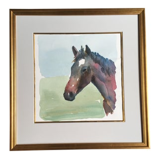 Portrait of a Horse Watercolor Painting For Sale