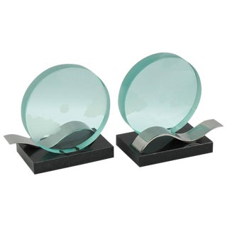 French Mid-Century Modernist Pair of Bookends Glass Slab With Etching For Sale