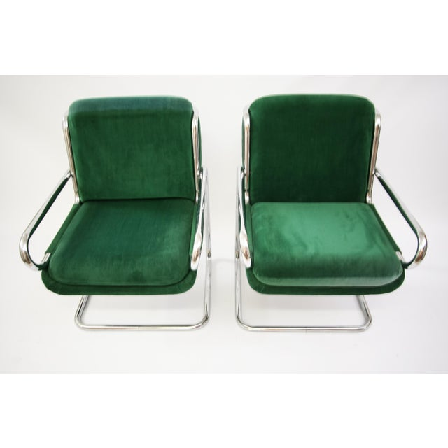 Dunbar Reversed Cantilever Tubular Chrome Chairs - A Pair - Image 7 of 7