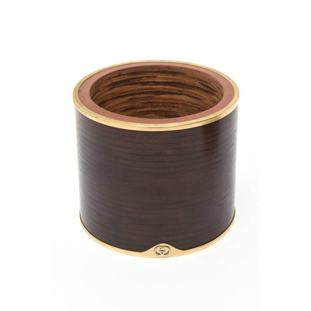 Italian Signed Gucci Wood, Leather& Brass Rams Head Humidor Or Lidded Box/ SALE For Sale In Miami - Image 6 of 10