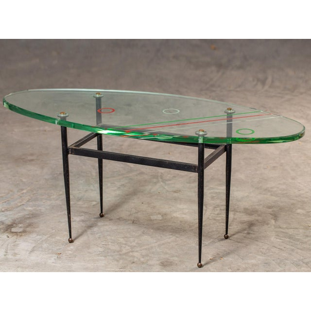 Vintage 1960s Italian Oval Coffee Table with Painted Glass Top For Sale - Image 13 of 13