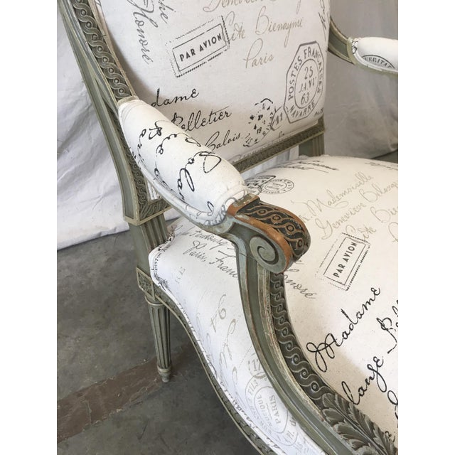 French Antique Painted Armchairs - a Pair For Sale - Image 4 of 13