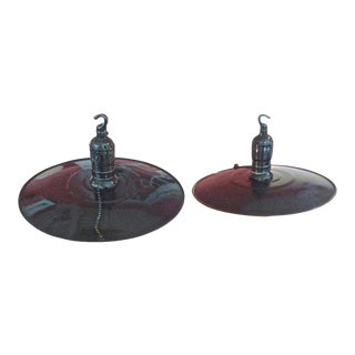 1950s French Hand Painted Tin Industrial Pendant Lights With Single Light - a Pair For Sale