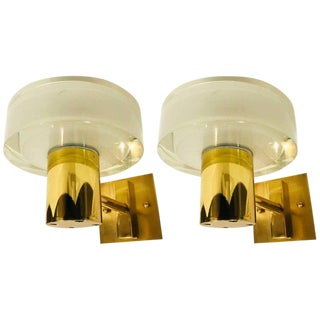 Seguso Flavio Poli Murano Brass & Glass Wall Lights- a Pair For Sale