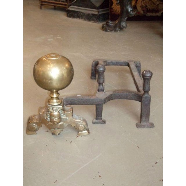 Traditional 19th Century Double-Arm Andirons - A Pair For Sale - Image 3 of 7